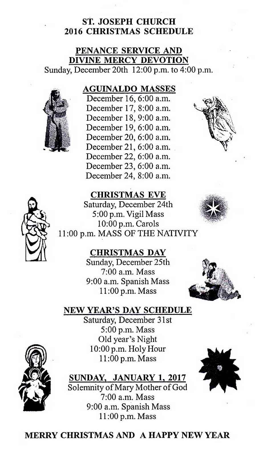 2016 Christmas Schedule